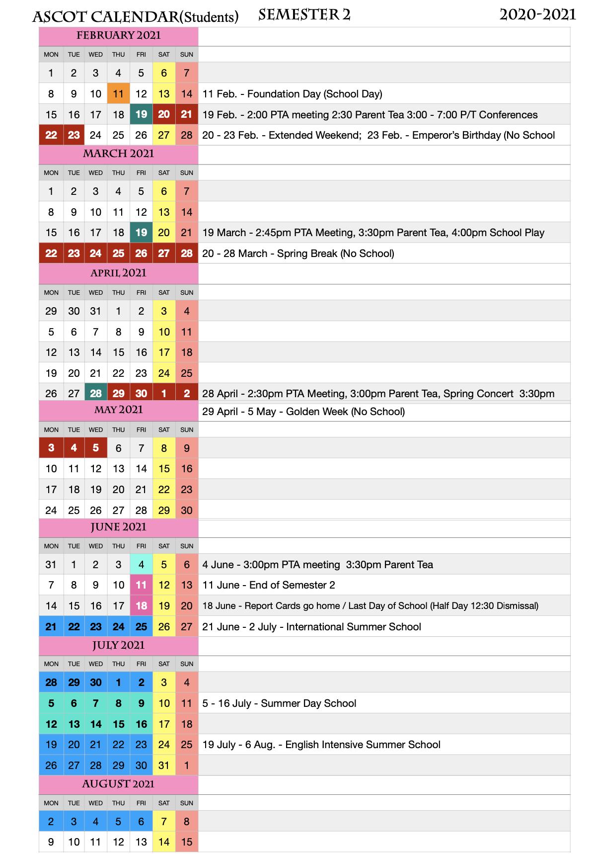 Ku Academic Calendar 2022.School Calendar Ascot International School Japan